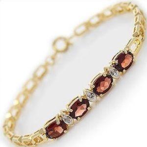 Jewelry - 4.39ctw Garnet & Diamond Bracelet NWOT